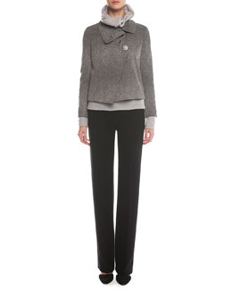 Stingray-Print Jacquard Asymmetric Jacket, Cashmere-Blend Boucle Pullover & Boot-Cut Double-Faced Pants
