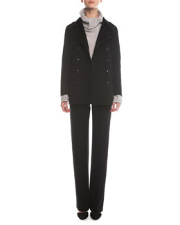 Cashmere Double-Breasted Peacoat, Cashmere-Blend Boucle Pullover & Boot-Cut Double-Faced Pants