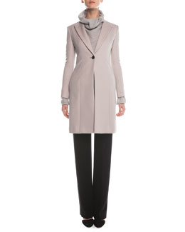 Cashmere Double-Faced Tailored Coat, Cashmere-Blend Boucle Pullover & Boot-Cut Double-Faced Pants