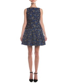 Floral-Jacquard Jersey Combo Top & Box-Pleated Floral Jacquard Skirt