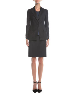 Pinstripe Single-Button Blazer, Scoop-Neck Pintucked Top & Pinstripe Wool Pencil Skirt