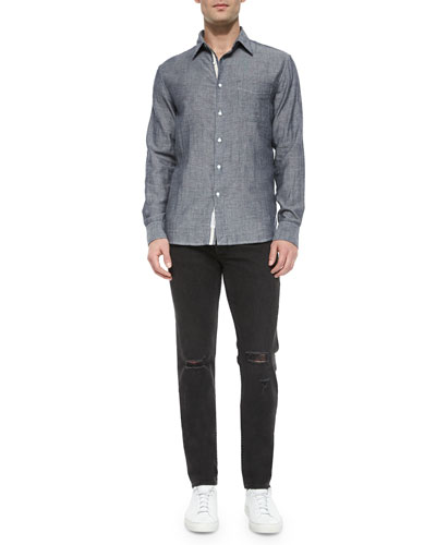 Beach-Striped Long-Sleeve Sport Shirt & Five-Pocket Distressed Skinny Jeans