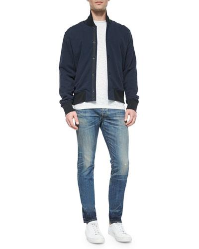Knit Varsity Jacket, Striped Short-Sleeve Tee & Slim-Fit Distressed Denim Jeans