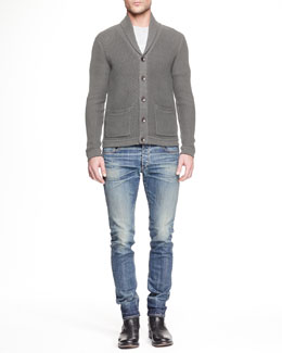 Avery Shawl-Collar Cardigan & Slim-Fit Distressed Denim Jeans