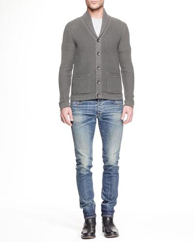 Avery Shawl-Collar Cardigan & Slim-Fit Distressed Denim Jeans