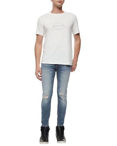 Lips Graphic Knit Tee & Mariner Distressed Slim-Leg Denim Jeans
