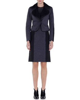 Contrast-Trimmed Snap-Button Jacket & Bicolor Interlock Jersey Dress