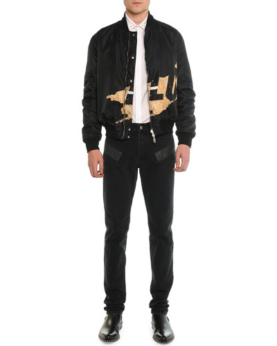 Reversible Bomber Jacket, Stud Collar Woven Shirt & Black Washed Jeans