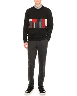 Patchwork Cotton Sweatshirt, Knot-Print Woven Shirt & Raw Edge Sweatpants