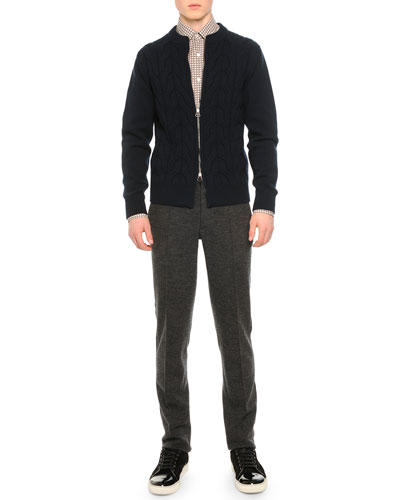 Cable-Knit Zip Cardigan, Knot-Print Woven Shirt & Raw Edge Sweatpants