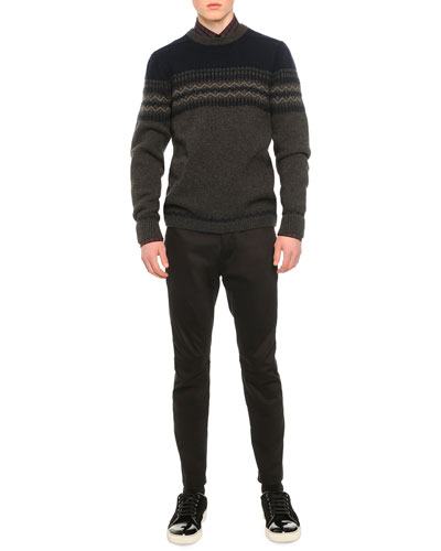 Fair Isle Crewneck Sweater, Check-Print Woven Shirt & Satin Biker Trousers