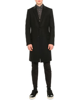 Twill Topcoat with Leather Collar, Maze-Print Woven Shirt & Satin Biker Trousers