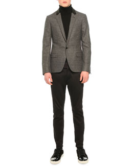 Houndstooth One-Button Jacket, Tricolor Turtleneck Sweater & Satin Biker Trousers