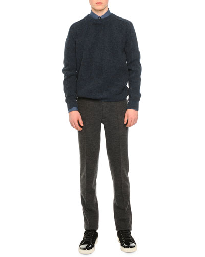 Mouline Ribbed Sweater, Mini Check Woven Shirt & Raw Edge Sweatpants