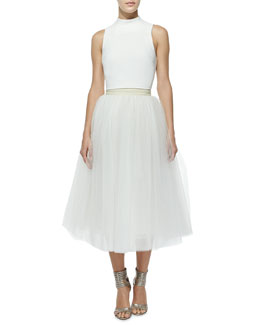 Avita Cropped Ponte Top & Everleigh Tulle Circle Skirt, Ivory