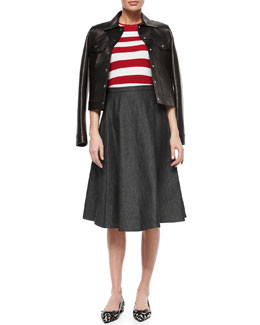 Snap-Front Bonded Leather Jacket, Short-Sleeve Striped Crewneck Sweater & A-Line Denim Midi Skirt