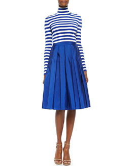 Striped Ribbed Turtleneck Sweater & Box-Pleated Faille Midi Skirt