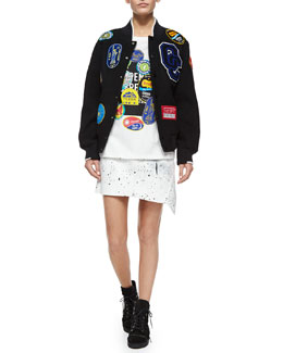 Fruit Sticker Varsity Jacket, Short-Sleeve Fruit Sticker Tee & Bandana-Twist Mini Skirt