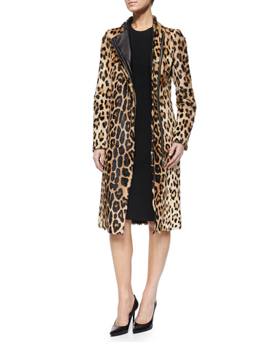 Sanderson Leopard-Print Goat Hair Zip Coat & Tiverton Lace-Up Back Sheath Dress