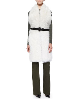 Constable Sleeveless Shearling Fur Jacket, Radley Flap-Pocket Knit Sweater & Serge Waxed Twill Flare Pants