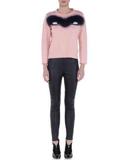 Fur-Trimmed Bug Eyes Sweater & Stretch Napa Leather Skinny Pants