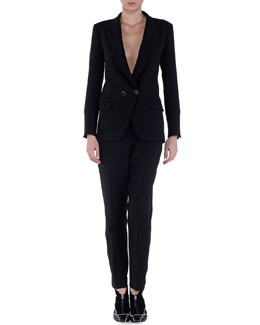 Double-Breasted Tuxedo Jacket & Side-Stripe Slim-Fit Pants