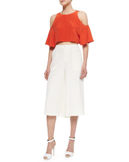 Teresa Cold-Shoulder Crop Top & Holly Silk Culottes
