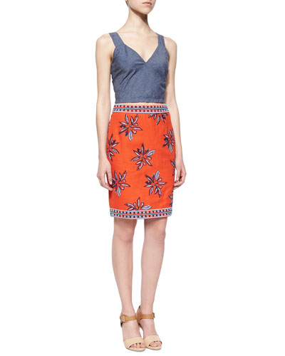 Brooklyn Shantung Crop Top & Francesca Floral-Embroidered Silk Skirt