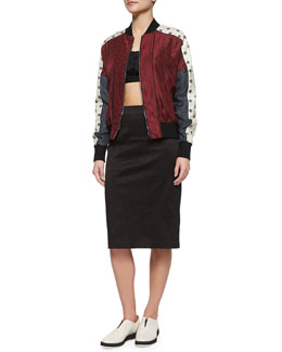 Greta Pattern-Block Jacket, Crinkled Cropped Top & Pencil Skirt