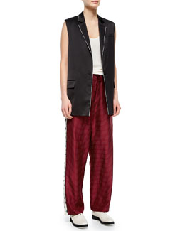 Donnie Long Button-Front Vest, Whitney Cashmere Tank & Rudy Drawstring Printed Pants