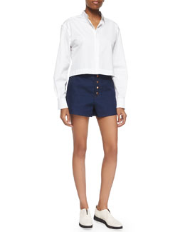 Audrey Long-Sleeve Crop Shirt & Branson Button-Front Denim Shorts