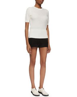 Whitney Short-Sleeve Top & Branson Button-Front Suede Shorts