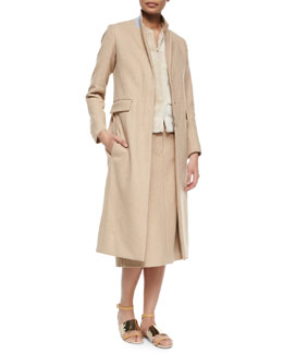 Half-Zip Contrast-Collar Long Coat, Sheared Mink Fur Zip Vest & Twill Melton Slit Midi Skirt