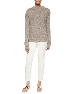 Knit Tweed High-Neck Sweater & Stretch-Corduroy Cropped Leggings
