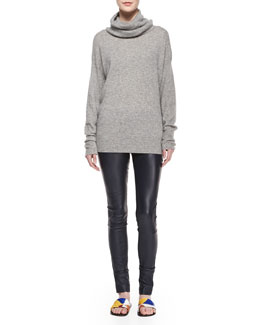 Superfine Cashmere-Blend Slouchy Turtleneck Sweater & Stretch Leather Pull-On Leggings