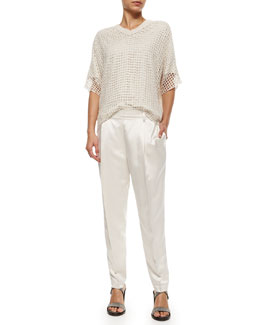 Open Grid-Knit Sequined Top & Front-Pleated Satin Pants