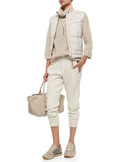 Quilted Zip-Front Vest, Cashmere Sequined Slouchy Sweater, Layered-Back Silk Tank, Woven Wool Jogger Pants, Monili Suede Small Duffel Bag & Silvertone Tag Chain Necklace