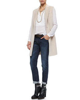 Alpaca Long Clean Vest, Long-Sleeve Georgette Henley Blouse, Classic 5-Pocket Denim Jeans, Metal-Plated Leather Belt, Wrap-Around Monili Cashmere Necklace & Cashmere Sequined Waffle-Knit Tunic Dress