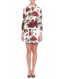 Rose-Print Jacquard Jacket & Rose-Print Flounce Dress
