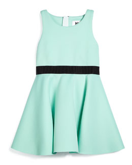 Racerback Ponte Flounce Dress, Mint Green
