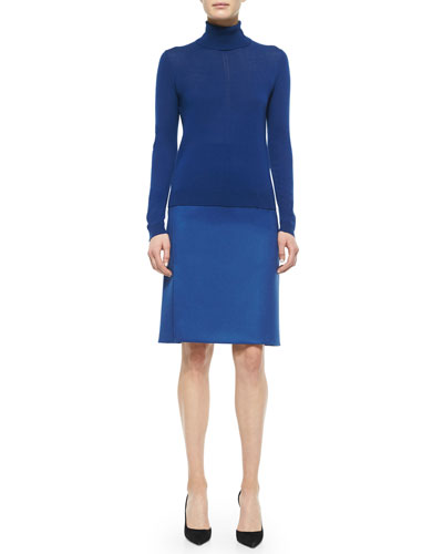 Cashmere-Blend Paneled Turtleneck Sweater & Banded Side-Slit Crepe Skirt