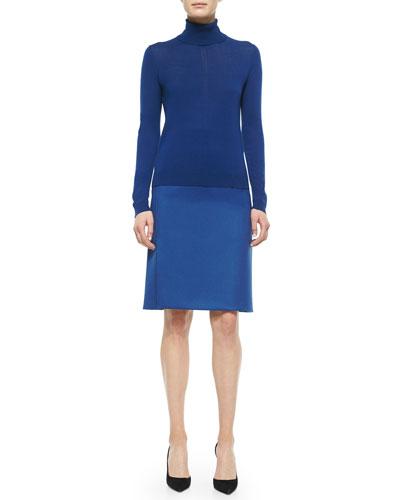 Cashmere-Blend Paneled Turtleneck Sweater & Banded Side-Slit Crepe Skirt