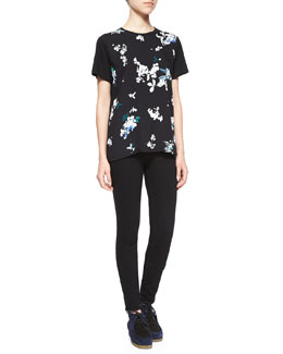 Floral-Print Georgette-Front Tee & Ultra-Skinny Denim Jeans