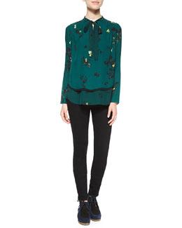 Floral-Print Georgette Blouse & Ultra-Skinny Denim Jeans