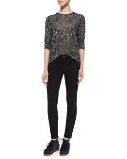 Dotted Floral-Print Slub-Knit Tee & Ultra-Skinny Denim Jeans