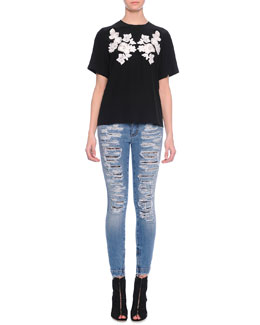 Lace Applique Jersey Tee & Distressed Denim Jeans