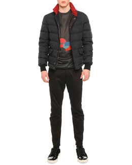 Quilted Short Puffer Parka, Geometric Graphic Print Tee & Satin Biker Trousers