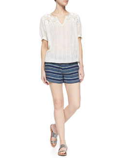 Ondine Embroidered Blouse & Merci Low-Rise Striped Shorts