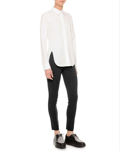 Side-Slit Button Blouse & Jersey Ultra-Skinny Pants