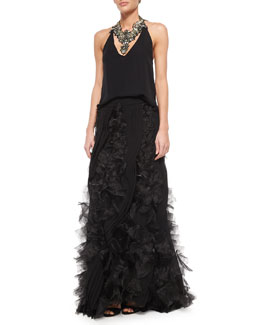 Silk Halter Top, Beaded Bib Necklace & Organza Pleated Ball Skirt
